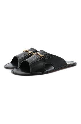 Мужские кожаные шлепанцы GUCCI черного цвета, арт. 624849/DLCD0 | Фото 1