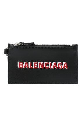 Мужской кожаный футляр для кредитных карт BALENCIAGA черного цвета, арт. 594548/1I373 | Фото 1