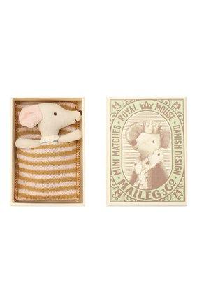 Детского игрушка новорожденный мышонок MAILEG бежевого цвета, арт. 16-9711-01   Фото 2