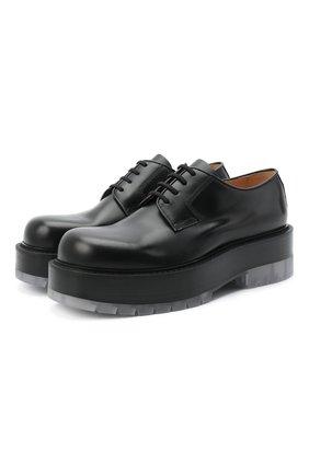 Мужские кожаные дерби BOTTEGA VENETA черного цвета, арт. 632512/VBS30 | Фото 1 (Материал внутренний: Натуральная кожа; Стили: Классический)