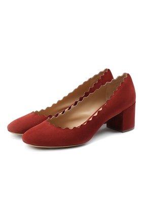 Женская замшевые туфли lauren CHLOÉ бордового цвета, арт. CHC16S23001 | Фото 1