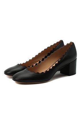 Женские кожаные туфли lauren с фигурным вырезом CHLOÉ черного цвета, арт. CHC16A23075 | Фото 1