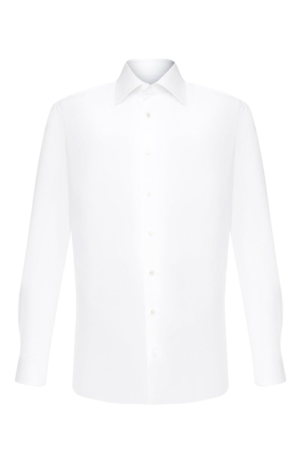 Мужская хлопковая сорочка ZILLI белого цвета, арт. MFU-10715-0299/0004   Фото 1