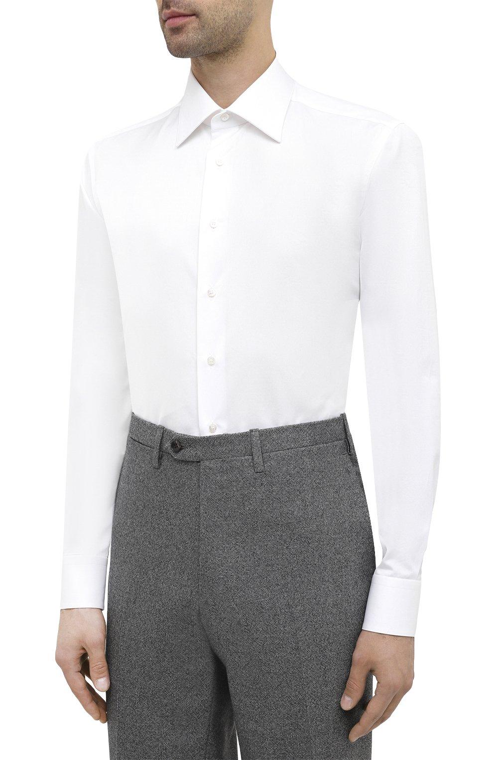 Мужская хлопковая сорочка ZILLI белого цвета, арт. MFU-10715-0299/0004   Фото 3