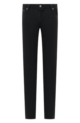 Мужской хлопковые брюки JACOB COHEN черного цвета, арт. J688 C0MF 08805-V/54 | Фото 1