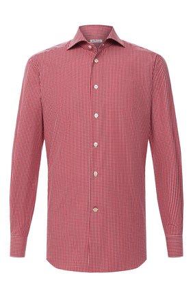Мужская хлопковая сорочка KITON красного цвета, арт. UCCH0746809 | Фото 1 (Материал внешний: Хлопок; Длина (для топов): Стандартные; Рукава: Длинные; Случай: Формальный; Стили: Классический)
