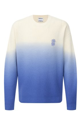 Мужской шерстяной свитер MARCELO BURLON синего цвета, арт. CMHE025E20KNI001   Фото 1