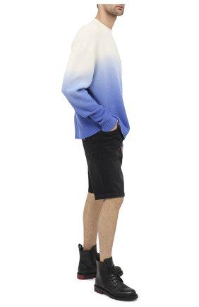 Мужской шерстяной свитер MARCELO BURLON синего цвета, арт. CMHE025E20KNI001   Фото 2