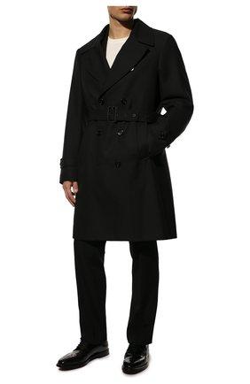 Мужской кожаные дерби DOLCE & GABBANA черного цвета, арт. A20137/A1203 | Фото 2