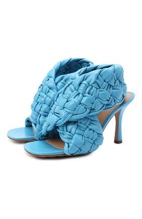 Женские кожаные босоножки bv board BOTTEGA VENETA голубого цвета, арт. 632507/VBT10 | Фото 1