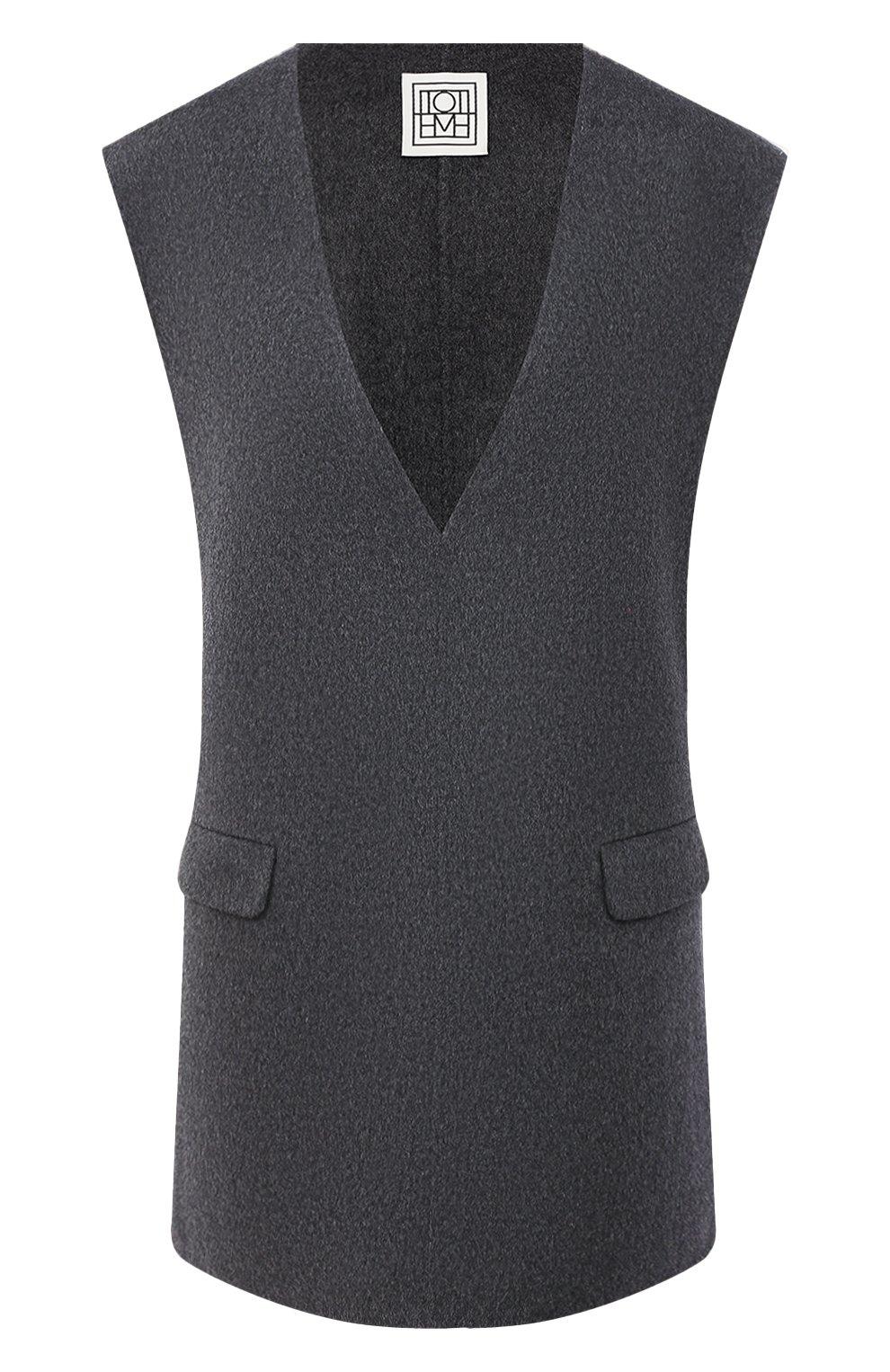 Женский жилет из шерсти и кашемира TOTÊME темно-серого цвета, арт. ALC0BA 201-101-722 | Фото 1