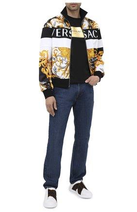 Мужские кожаные кеды FENDI белого цвета, арт. 7E1198 A5JP | Фото 2