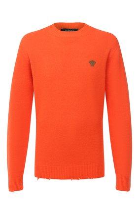 Мужской свитер из шерсти и шелка VERSACE оранжевого цвета, арт. A86530/A235909 | Фото 1