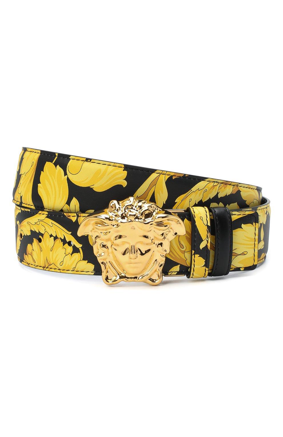 Мужской кожаный ремень VERSACE желтого цвета, арт. DCU6705/DVST4 | Фото 1