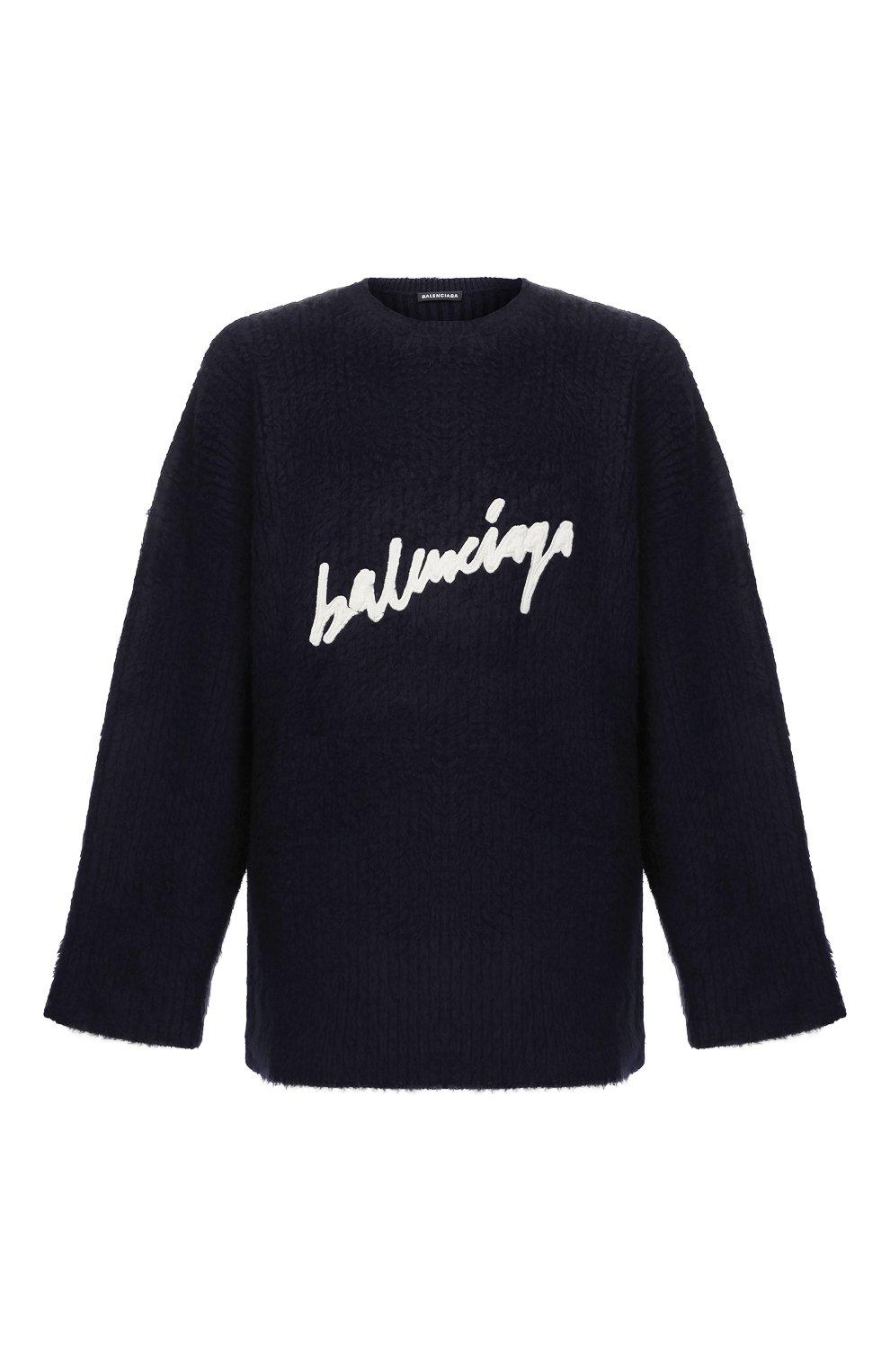 Мужской хлопковый свитер BALENCIAGA темно-синего цвета, арт. 628740/T3182 | Фото 1