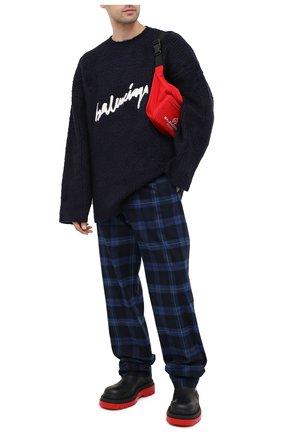 Мужской хлопковый свитер BALENCIAGA темно-синего цвета, арт. 628740/T3182 | Фото 2