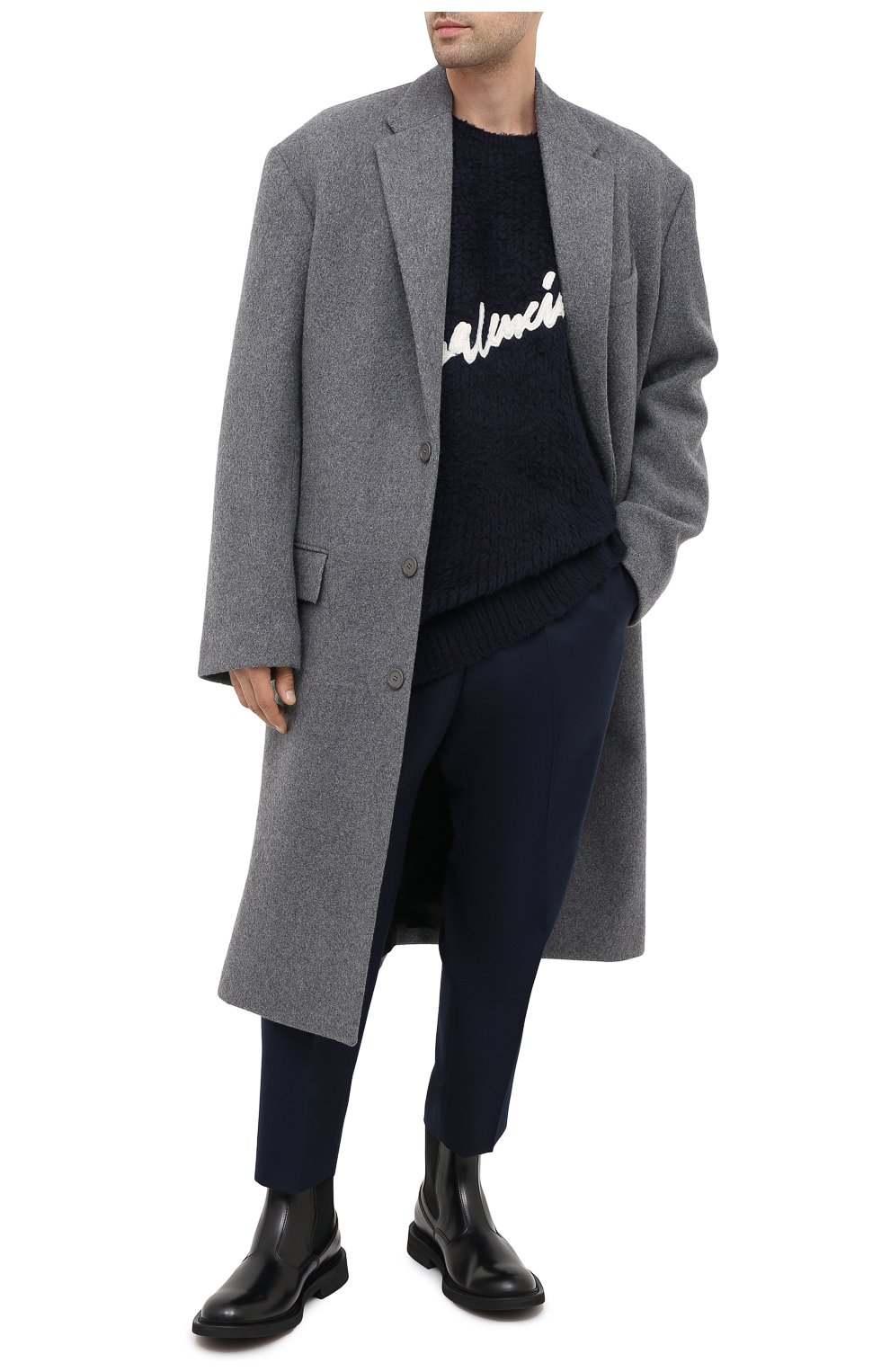 Мужской хлопковый свитер BALENCIAGA темно-синего цвета, арт. 628740/T3182 | Фото 3