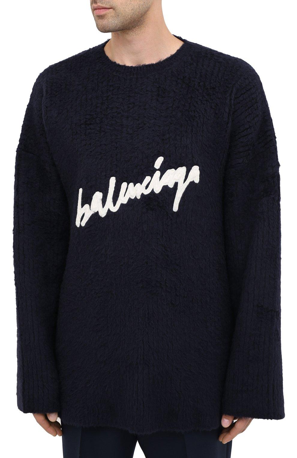 Мужской хлопковый свитер BALENCIAGA темно-синего цвета, арт. 628740/T3182 | Фото 4