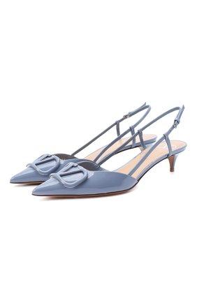 Женская кожаные туфли valentino garavani vlogo VALENTINO голубого цвета, арт. UW2S0Q70/TMK | Фото 1