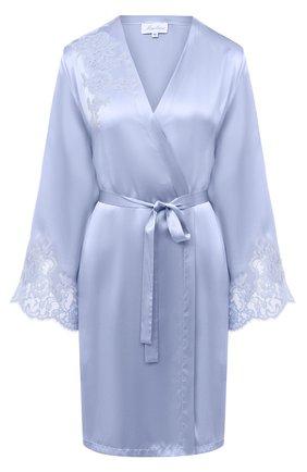Женский шелковый халат MARJOLAINE голубого цвета, арт. 3GEM2001 | Фото 1