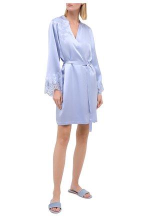 Женский шелковый халат MARJOLAINE голубого цвета, арт. 3GEM2001 | Фото 2