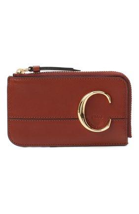 Женский кожаный футляр для кредитных карт CHLOÉ коричневого цвета, арт. CHC19UP059A37 | Фото 1
