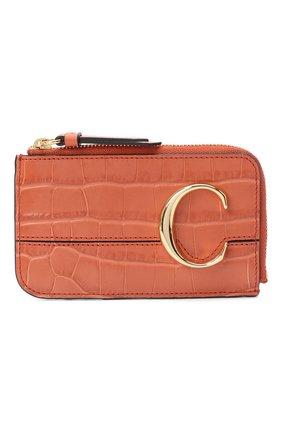 Женский кожаный футляр для кредитных карт CHLOÉ светло-коричневого цвета, арт. CHC19UP059A87 | Фото 1