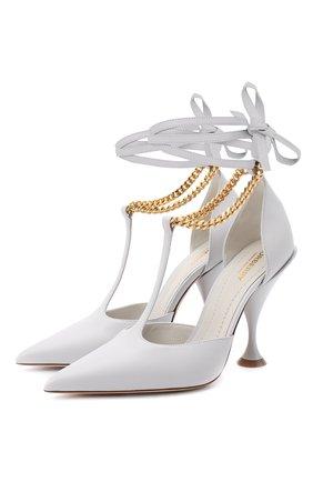 Женские кожаные туфли BURBERRY светло-серого цвета, арт. 8032030 | Фото 1