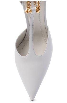 Женские кожаные туфли BURBERRY светло-серого цвета, арт. 8032030 | Фото 5