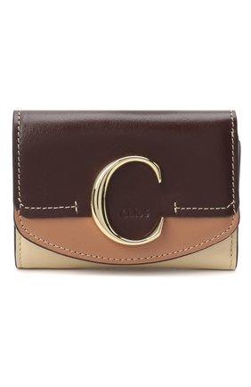 Женский кожаный футляр для кредитных карт CHLOÉ коричневого цвета, арт. CHC20AP058D09 | Фото 1