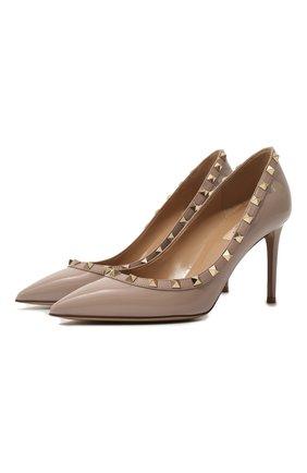 Женские лаковые туфли rockstud VALENTINO бежевого цвета, арт. UW2S0A04/VNW | Фото 1 (Материал внутренний: Натуральная кожа; Подошва: Плоская; Каблук тип: Шпилька; Каблук высота: Высокий)