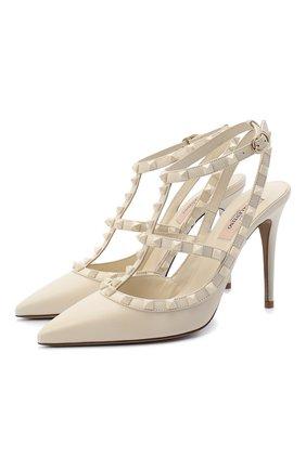 Женская кожаные туфли valentino garavani rockstud VALENTINO кремвого цвета, арт. UW2S0393/VB8 | Фото 1