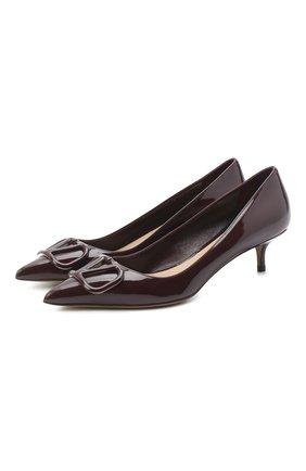 Женская кожаные туфли valentino garavani vlogo VALENTINO бордового цвета, арт. UW2S0Q63/TMK | Фото 1