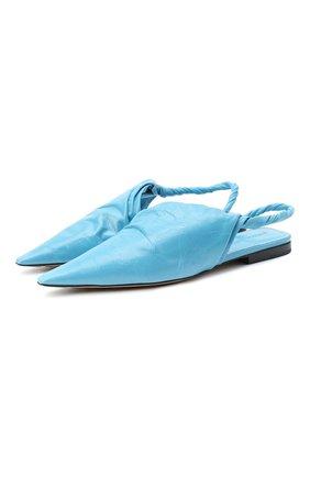 Женские кожаные балетки bv point BOTTEGA VENETA голубого цвета, арт. 630184/VBP10 | Фото 1