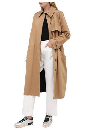Женские кожаные кеды portofino DOLCE & GABBANA серебряного цвета, арт. CK1544/AW329 | Фото 2