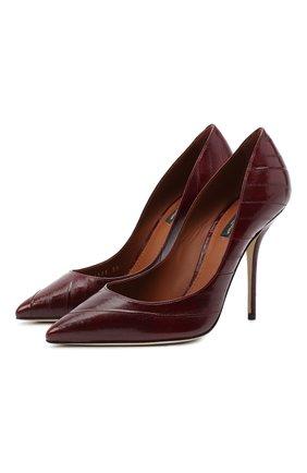 Женская кожаные туфли cardinale DOLCE & GABBANA бордового цвета, арт. CD1523/A8M24 | Фото 1