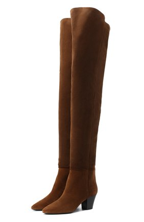 Женские замшевые ботфорты kim SAINT LAURENT коричневого цвета, арт. 630897/1NZ00 | Фото 1