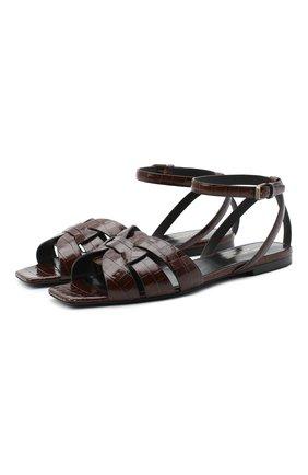 Женские кожаные сандалии tribute SAINT LAURENT коричневого цвета, арт. 620090/1YQ00 | Фото 1