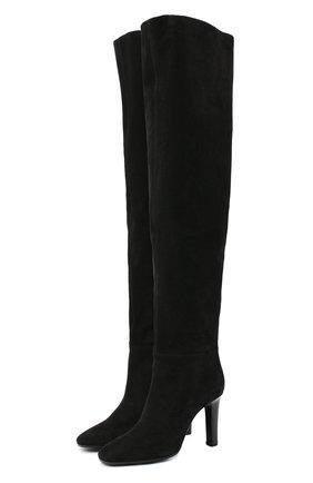 Женские замшевые ботфорты jane SAINT LAURENT черного цвета, арт. 632613/0LI00 | Фото 1
