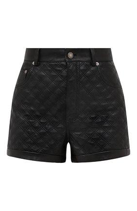 Женские кожаные шорты SAINT LAURENT черного цвета, арт. 632344/YC2ZZ | Фото 1