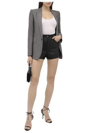Женские кожаные шорты SAINT LAURENT черного цвета, арт. 632344/YC2ZZ | Фото 2