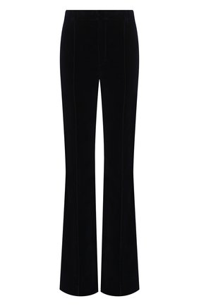 Женские хлопковые брюки SAINT LAURENT темно-синего цвета, арт. 628614/Y615W | Фото 1