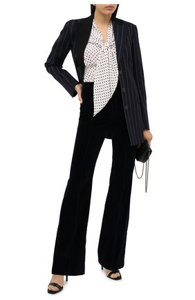 Женские хлопковые брюки SAINT LAURENT темно-синего цвета, арт. 628614/Y615W | Фото 2