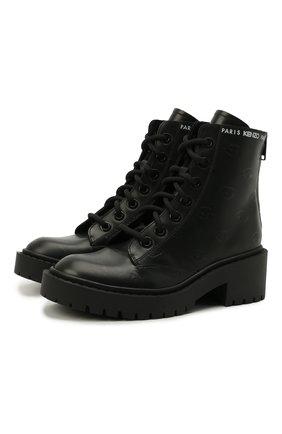 Женские кожаные ботинки pike KENZO черного цвета, арт. FA62BT340L79 | Фото 1 (Материал внутренний: Натуральная кожа; Подошва: Платформа; Женское Кросс-КТ: Военные ботинки; Каблук высота: Низкий)