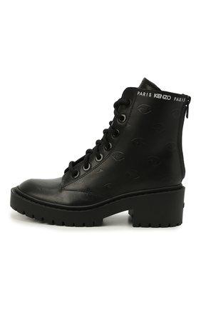 Женские кожаные ботинки pike KENZO черного цвета, арт. FA62BT340L79 | Фото 2 (Материал внутренний: Натуральная кожа; Подошва: Платформа; Женское Кросс-КТ: Военные ботинки; Каблук высота: Низкий)