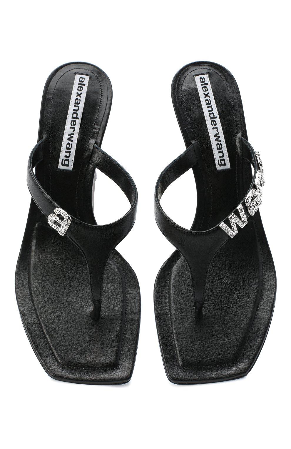 Женские кожаные мюли ALEXANDER WANG черного цвета, арт. 30C220S024 | Фото 5