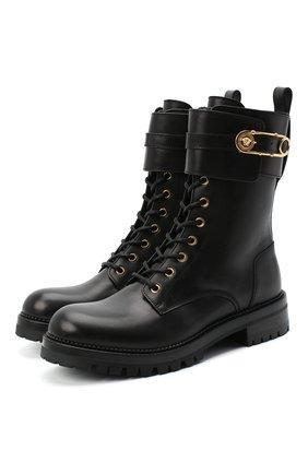 Женские кожаные ботинки VERSACE черного цвета, арт. DST419E/DVTA3 | Фото 1