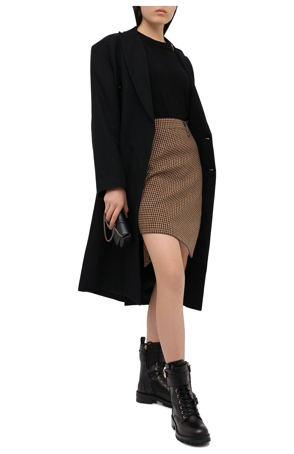 Женские кожаные ботинки VERSACE черного цвета, арт. DST419E/DVTA3 | Фото 2