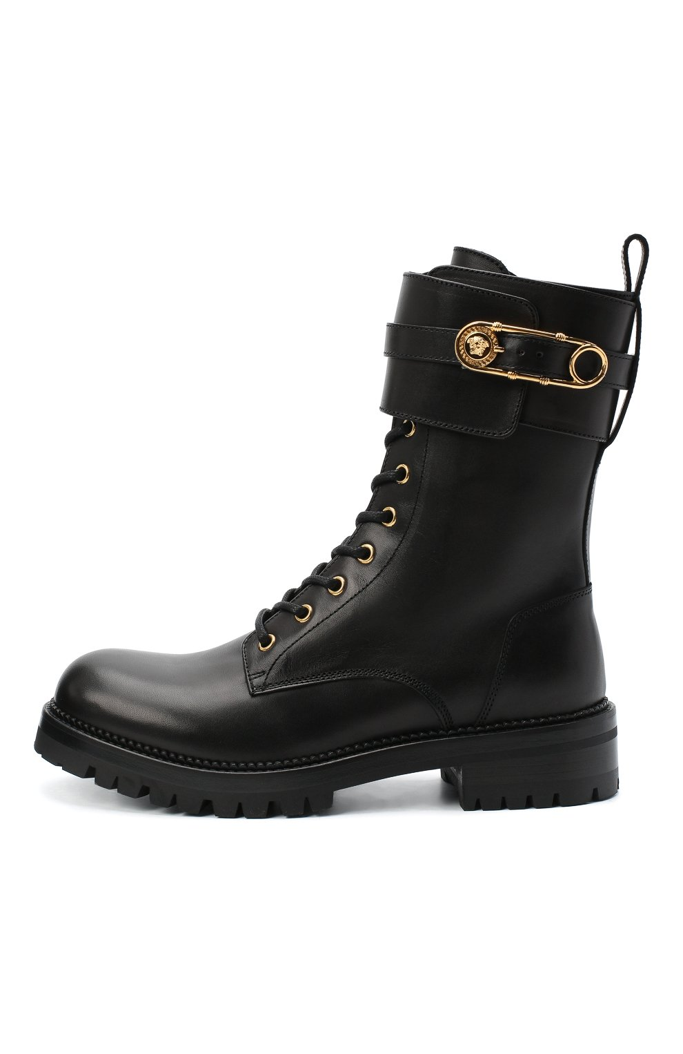 Женские кожаные ботинки VERSACE черного цвета, арт. DST419E/DVTA3 | Фото 3