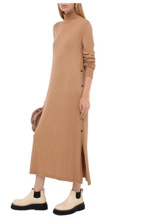Женское кашемировое платье LORO PIANA бежевого цвета, арт. FAL2569 | Фото 2
